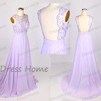 Long Sweet 16 Dress/Purple Lace Prom Dress/Lilac See Through A Line Chiffon Prom Dress/Lavender Homecoming Dress/Bridesmaid Dress DH136