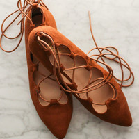 Pirouette Lace Up Flats - Camel