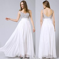 2017 Fashion Summer Women Chiffon Sequins Maxi Dress Prom Bridesmaid Formal Dress Sexy Backless Bodycon Ball Gown Party Dresses