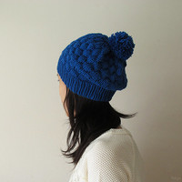 Hand Knitted Bubble Hat in Blue - Slouch Hat with Pom Pom - Seamless Winter Hat - Wool Blend - made to order
