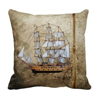 Vintage Styled Ship with Rope Design Throw Pillow