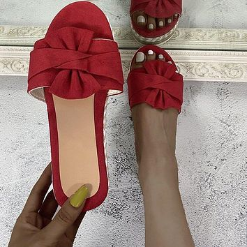 New style bowknot plus size sandals, hemp rope sponge cake, thick-soled flip-flop beach shoes