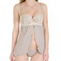 CC Open Front Cupped Babydoll with Matching G String