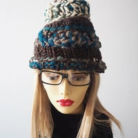 multicolored knit hat / multicolored crocheted hat / handmade / one of a kind / womans winter hat / ski hat / teen girl hat / tall hat