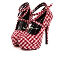 Sexy Plaid Design Party High Heel Cloth Pointed Toe