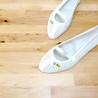 Vintage Jelly Sandal / White Mary Janes / 80s Jelly Shoes / Italian Sandals / White Flat Shoes US 9 / Euro 40