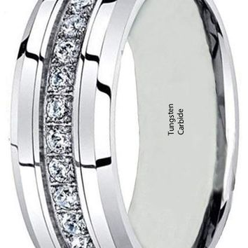CERTIFIED 6/8mm Tungsten Carbide Silver 13 CZ Men Women Wedding Engagement Band