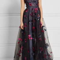 Oscar de la Renta - Layered embellished tulle, organza and lace gown