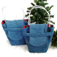 SALE Christmas Plaid Gift Bags Reusable Upcycled Denim Small Gift Tote Vintage Red Green Holiday Wrapping (set of 2) --US Shipping Included