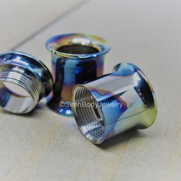 "Titanium tunnels double flare internally threaded screw fit plug earrings 100% ti hypoallergenic 8g-1"" pick your gauge"