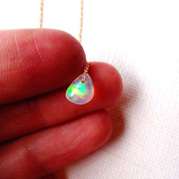 Natural Micro Ethiopial Welo Opal Floating Stone Pendant & 14k Gold Fill Chain Necklace; Rough opal charm; Unique Gift for Her; Delicate