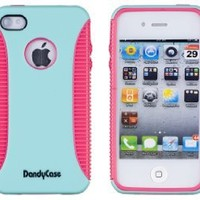 Body Armor Case for Apple iPhone 4, 4S (AT&T, Verizon, Sprint) - Sea Green / Pink - Includes 24/7 Cases Microfiber Cleaning Cloth [Retail Packaging by DandyCase]