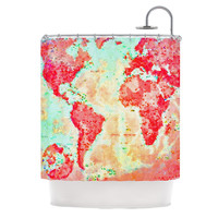 """Alison Coxon """"Oh The Places We'll Go"""" World Map Shower Curtain"""