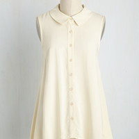 Supported Scientist Top in Ivory | Mod Retro Vintage Short Sleeve Shirts | ModCloth.com
