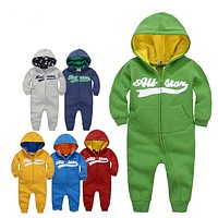 New brands Baby Girl Boy Spring Clothes Warm Romper Baby Rompers AutumnNewborn Winter Coverall Hooded Baby Outdoor Clothing