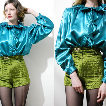80s Vintage GREEN SATIN Shirt Rose Calyx Ruffle Collar Puff Sleeves Button Down Adele Palmer Poison Ivy Blouse Top 1980s Romantic vtg M L