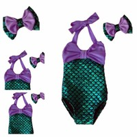 Girls One Piece Mermaid Swimsuit With Bow