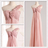A-line one shoulder petal Floor-Length Gorgeous prom dresses