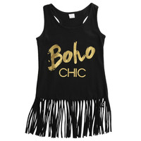 2016 NEW Toddler Kids Baby Girl Summer Clothes Letter Printed Sleeveless Tassel Tops T-Shirt Dress 1-5Y