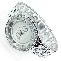 Dolce&Gabbana Hot Sale Women Men Diamond Movement Business Watches Wristwatch Silvery