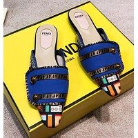 FENDI Popular Women Pointed Half Slipper Sandals Mules Shoes Blue