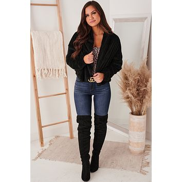 Ode To Cozy Fuzzy Hooded Jacket (Black)