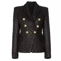 ABEL Ladies Grid Cotton Padded Slim Fitting Synthetic Leather Jacket