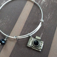 Camera Adjustable Expandable Bangle Bracelet Charm Black Crystal Silver Photography Handmade