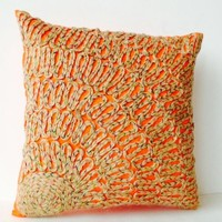 Amore Beaute Handcrafted Throw Pillow Covers - Orange Pillow Cases with Tan Burlap Dori Embroidery - Burlap Embroidered Orange Silk Toss Pillow Covers - Decorative Pillows - Accent Pillow Covers in Orange - Euro Sham - Large Pillow - Gift for Holidays, Wed