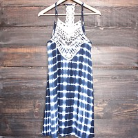 Final Sale - Tie Dye Crochet Bib Sun Dress in Navy