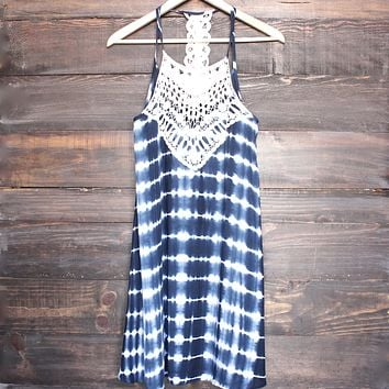 Tie Dye Crochet Bib Sun Dress in Navy