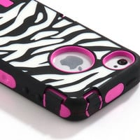 BLACK ZEBRA HIGH IMPACT COMBO HARD RUBBER CASE FOR IPHONE 4 4G 4S PINK+Protect