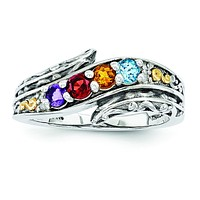 Sterling Silver & 14k Four-stone and Diamond Mother's Ring Semi-Mount QMR36/4