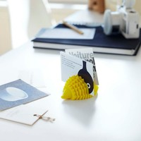YAMAZAKI home Silicone Animal Card-Holder, Yellow/Hedgehog