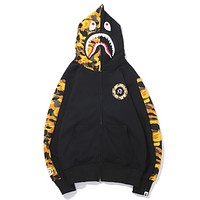 Bape Aape Autumn And Winter New Fashion Shark Couple Hooded Long Sleeve Sweater Top Black