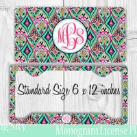 Mint Aztec Monogram License Plate Frame Holder Metal Wall Sign Tags Personalized Custom Vanity Country Girl
