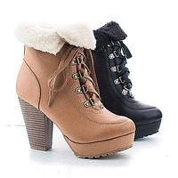 Huxley20L By Bamboo, Faux Shearling Folded Ankle Cuff Lace Up Stacked Heel Booties
