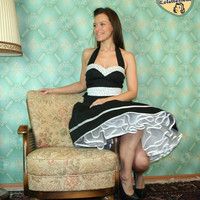 50's vintage dress full skirt black with by Lolablossomclothing
