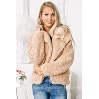 Always Good Days Sherpa Open Front Jacket | Nude