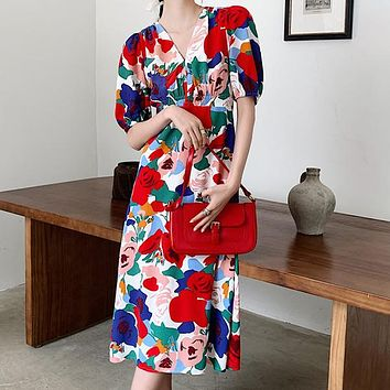 Puff Sleeve Red Long Dress V Neck Short Sleeve Floral Print  Ladies Vacation Outfits Beach Dress