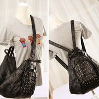 Casual Back To School On Sale Hot Deal Comfort College Cool Leather Mosaic One Shoulder Skull Stylish Bags Black Backpack [6049525377]