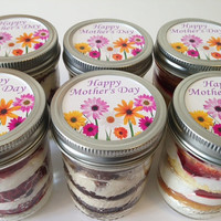 6 (8oz) Cupcakes In A Jar-Mason Jars-Mother's Day-Happy Mother's Day-Mother's Day Gifts-Grandmom-Gift for Grandmom-Daisys-Flowers-Sweets