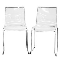 Lino Transparent Clear Acrylic Dining Chair, Set of 2, Clear