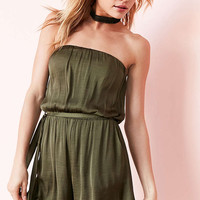 Bardot Satin Strapless Romper - Urban Outfitters