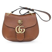 GUCCI GG MARMONT LEATHER SHOULDER BAG Brown Tiger Authentic New  Gucci bag