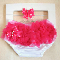Diaper Cover & Headband SET-Minni Mouse Inspired Outfit-Bloomers-Bloomer-Baby Girl Clothes-Newborn-Infant-Toddler-Wedding-Flower Girl-Ruffle