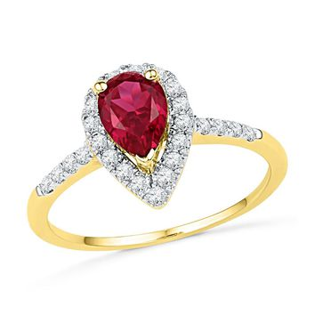 10kt Yellow Gold Womens Pear Lab-Created Ruby Solitaire Diamond Frame Ring 1/5 Cttw 101211