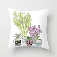 Cactus Throw Pillow by Olivia James