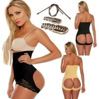 High Rise Hip Up Pantie Steel Boned Corset Lace Hip Up Panties [4965243716]