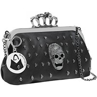 MG Collection Gothic Skull Knuckle Duster Evening Bag, Black, One Size